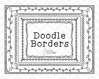 80% OFF SALE Clipart Hand Drawn Doodle Borders and Frames  Clip Art