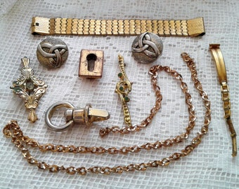 Shabby Golden tone Odds ends instant collection Destash Trinkets lot Mixed Random Assortment Junk Reuse Found objects chain brooch buttons