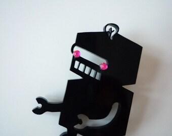 I AM NOT A ROBOT black acrylic perspex laser cut brooch