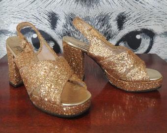 60s / 70s Gold Heels by DiOrsini Originals / M