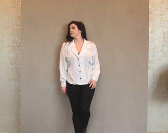 Vintage Plus Size Blouse | White Blouse | Polka Dot Blouse | Structured Blouse | XLarge Blouse XL | Size 16 Blouse 1X | 80s Blouse Preppy