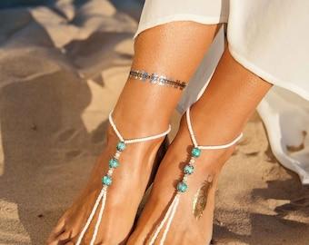 Turquoise gemstones barefoot sandals, Bohemian barefoot sandals, Destination wedding, Beach wedding boho bride, Footless sandals