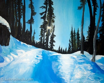 Snowy Alpine Trail, British Columbia Landscape Painting, Photo Print
