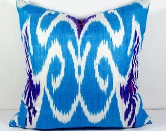 20x20 blue ikat pillow cover,ikat pillow, blue, cushion, case, cotton pillow cover, decorative pillow, throw pillow, blue pillows, blue ikat