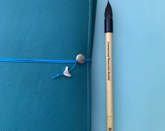 Teal Turquoise Leather Watercolor Journal - Sketchbook - Peregrine Notebook Blue Cording 40 pages ARCHES 140 Lb, 300 gsm COLD pressed paper