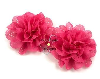 Hot Pink Chiffon Eyelet Flower - 3.5 inches DIY Flowers, Hair Accessories, DIY Headband Supplies - 2 Flowers