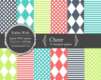 Instant Download Cheer Digital Paper Kit  12x12 inch 300 dpi jpg Instant Download files