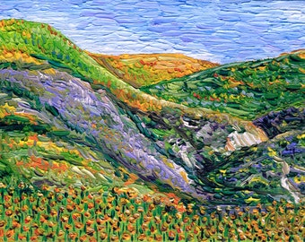 Giclee print, Hillside with Wildflowers II, 5 x 7 in.