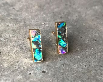 Opal Studs Earrings, Black opal earrings, Opal jewelry, October birthstone, Libra birthstone jewelry, boho jewelry, bar earrings