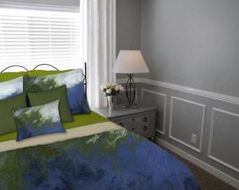 Navy blue Olive green, Queen Duvet Cover, King Full Twin, Bohemian duvet cover, Bedding set, Abstract art, Ombre, Master bedroom, Designer