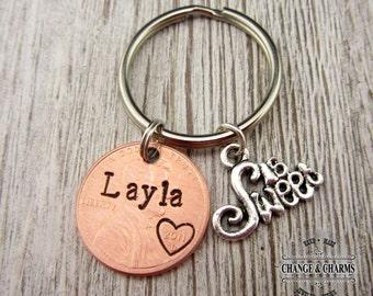 Sweet 16 Penny Keychain, Sweet 16 Keychain, Sweet 16 Gift, Birthday Gift, Custom Keychain, Penny Keychain,Personalized Gift,Keychain, CTX011