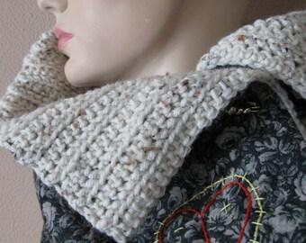 Black Crochet Scarf Reversible