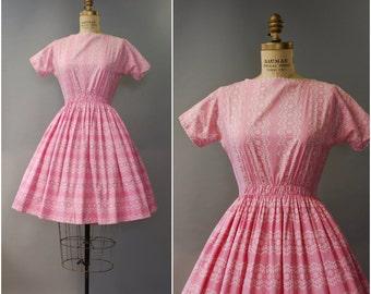 1950's Lanz Originals pink cotton dress • small