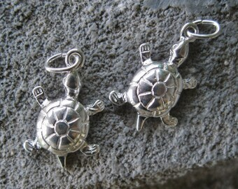 Sea Turtle Charm Sterling Silver Turtle Totem Sea Life Ocean Nautical 2 Charms