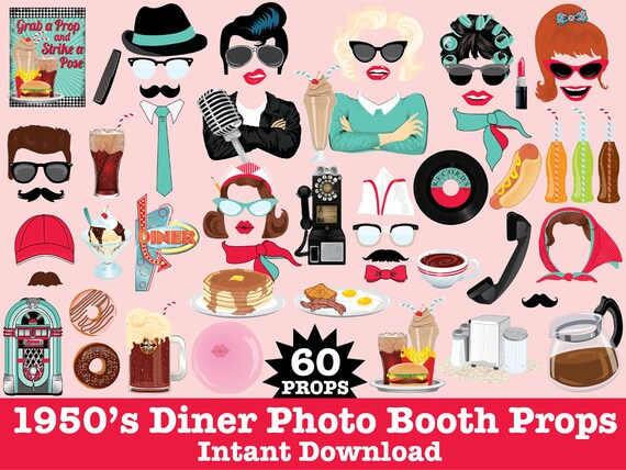 1950s Photo Booth Props Grease Party Fifties Party Rock n