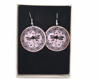 Earrings, Dragonfly Dangle Earrings, Round Earrings, Boho Earrings, Bohemian Findings, Copper Earrings, Handmade Jewelry, Gypsy Earrings