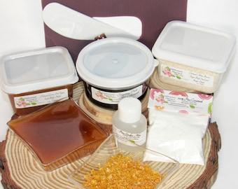Sugaring Hair Removal Set, Oatmeal Scrub, Lemon Sugar Scrub - thicker hair, Body Sugaring, natural sugaring, natural sugar scrub