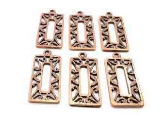 6 Copper Charm Antique Copper Charm Antique Copper Plated Metal (30x14mm) G11524