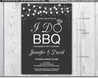 i do bbq invitation / i do bbq couples shower / i do bbq engagement party / i do bbq invite / bbq engagement invitations / engagement party