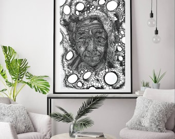 """The original epic ink drawing, black white -  """"TIME"""""""