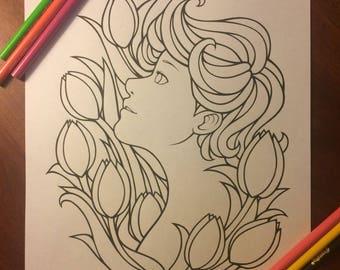 Printable PDF Coloring Page: Tulips Line Art - Digital Download