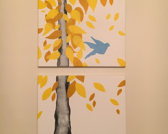 2-Canvas tree painting with bird