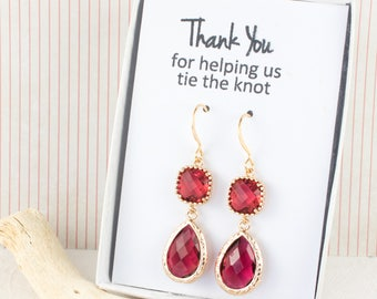 Long Ruby Gold Teardrop Earrings, Gold Ruby Earrings, July Birthstone Gold Earrings, Bridesmaid Jewelry, Red Wedding Jewelry