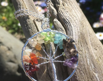 Tree Of Life Wire Wrapped Crystal Pendant