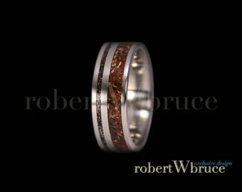 Tyrannosaurus & Meteorite Titanium Ring Dinosaur Bone Groom's Wedding Band - Exclusive rWb Custom Design