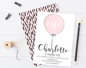 Girl Balloon Birthday Party Invitation, Printable, Pink Balloon Invite, First Birthday, 1st, One, Pink and Black, simple, modern, 2nd, 3rd
