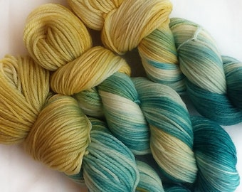 Hand dyed yarn, Lily, 100% super wash merino wool yarn, dk weight yarn, teal yarn, yellow yarn