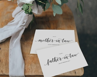 To My Mother-In-Law, To My Father-In-Law On My Wedding Day, In Laws Wedding Card, Thank You Card, Parents In Law Wedding Cards, 2 Cards, K3