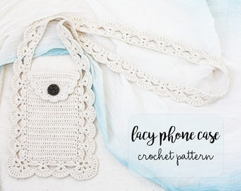 Lacy phone case crochet pattern DIY iPhone 6 plus crossbody holder How to make mobile cover with crochet Cute and easy project for beginners
