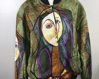 Vintage 80s Picasso Avant Garde Street Wear Satin Zip-It-Up Bomber Spring Jacket Coat-- M/L/XL