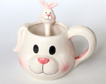Darling Bunny Mug with Bunny Spoon by Uptown Vintage