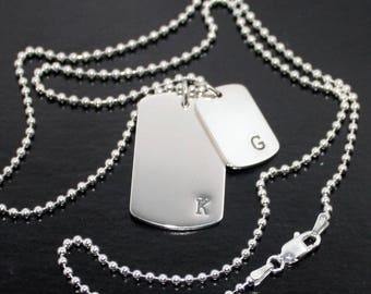 Father Son Dog Tags Mother Daughter Dog Tags Initials Ball chain dog tag necklace gift for him solid sterling silver twin dog tags