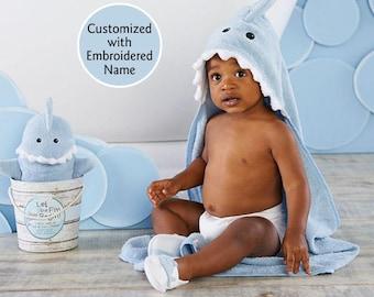 Blue Shark Hooded Bath Towel, Baby Bath Towel, Terry Cloth Towel, Shark Hooded Towel, Baby shower gift, Baby Aspen Bath time gift set