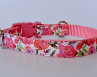 Pink Rose Small Dog Collar - READY TO SHIP!