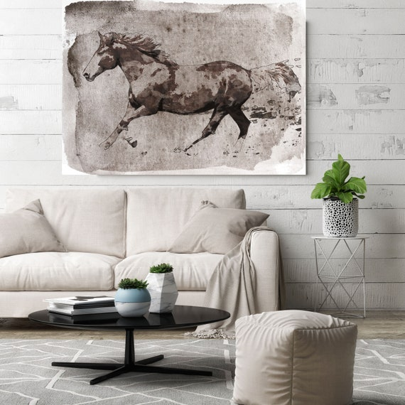 """Brown Horse Running. Horse Art Large Canvas, Horse Art, Brown Rustic Horse, Rustic Vintage Horse Wall Art Print up to 81"""" by Irena Orlov"""