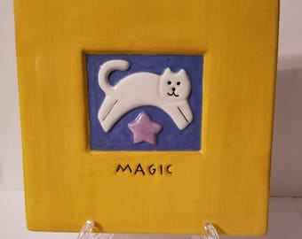 Magic Cat Clay Art Plaque