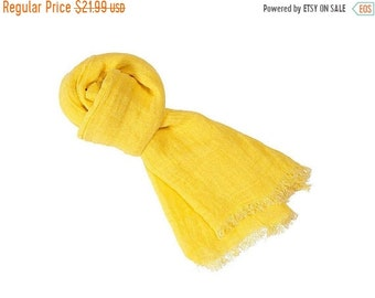 Sale 10% Linen scarf, linen accessory, yellow scarf, women scarf, natural scarve