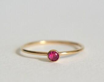 Gold Ruby Ring, Gold Filled Ruby Ring, Ruby Ring Gold, Stacking Ring, Dainty Ring, Stackable Ring, Gold Ruby Stacking Ring