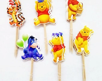 24 Pieces  Winnie the Pooh,Eeyore and Tiger Cupcake Toppers Picks for Birthday Decorations DIY Party Supplies