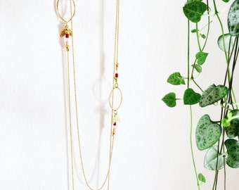 Necklace leaves delicate boho made in France