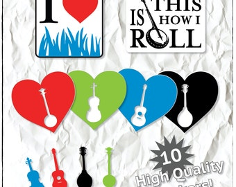Bluegrass Sticker Collection - Indoor or Outdoor (10 stickers)