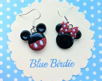 Minnie and Mickey mouse dangle earrings Disney jewelry Disney earrings Minnie mouse jewelry Mickey Mouse earrings Mickey Mouse jewelry gifts