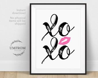 XOXO Printable / Hugs and Kisses / XOXO Wall Art / Love Wall Art / XOXO Sign / Love Printable / Valentines Printable / Black Printable Art
