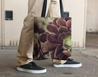 Succulent in Burgundy, Tote Bag, Grocery Tote Bag, Book Tote Bag