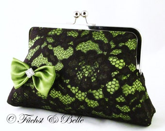 Green Lace clutch - Evening purse in sexy elegant lace with satin bow in olive