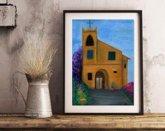 "Oil Painting Print, Giclee Print, Archival Print ""San Giorgio"" Fine Art Print 5""x7"" Original Oil Painting of Church, Home Decor, Wall Art"